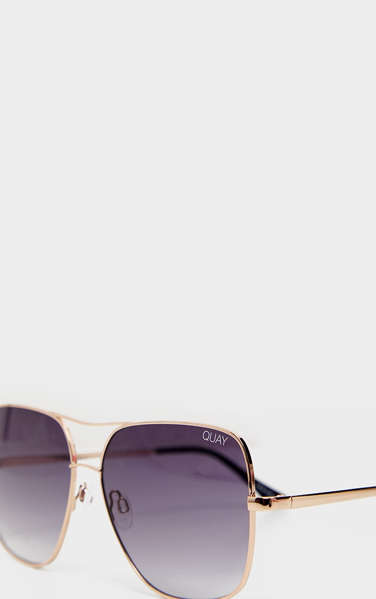 Quay X Chrissy Gold Frame Double Bar Stop And Stare Sunglasses 4