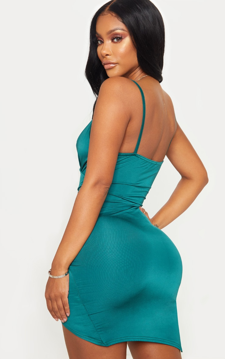 Shape Emerald Green Ruched Side Strappy Bodycon Dress 2