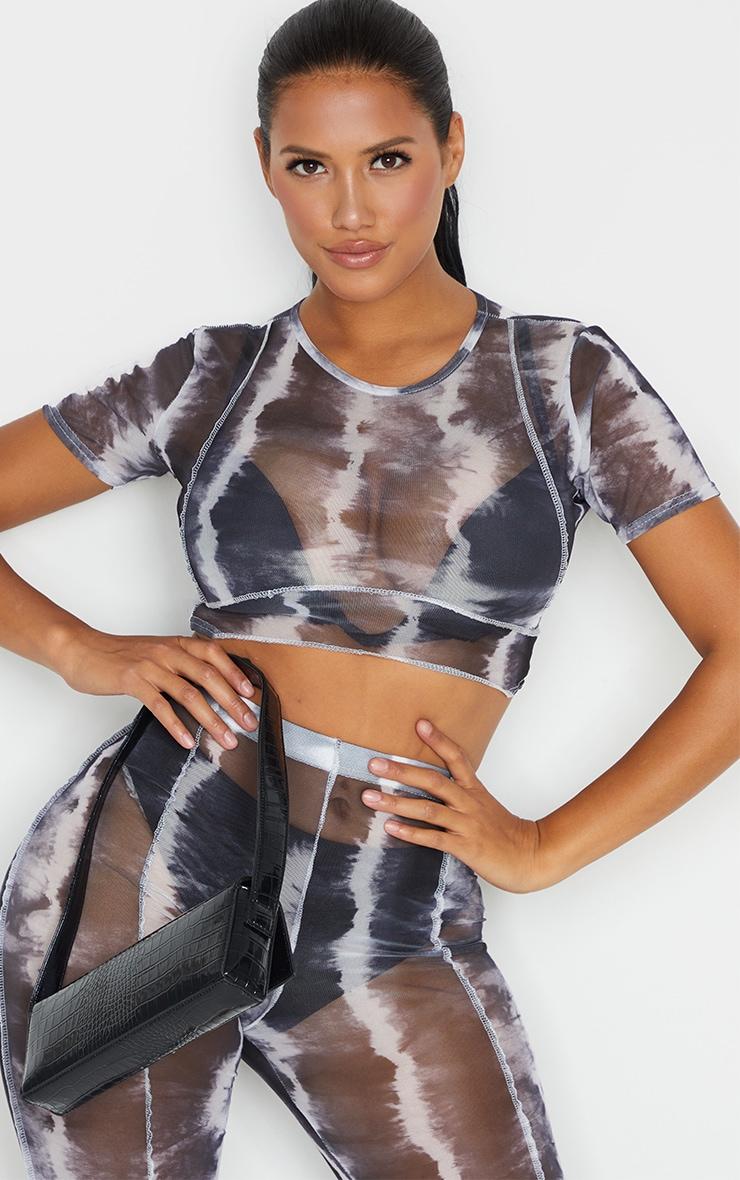 Shape Black Tie Dye Sheer Mesh Binding Detail Crop Top 1