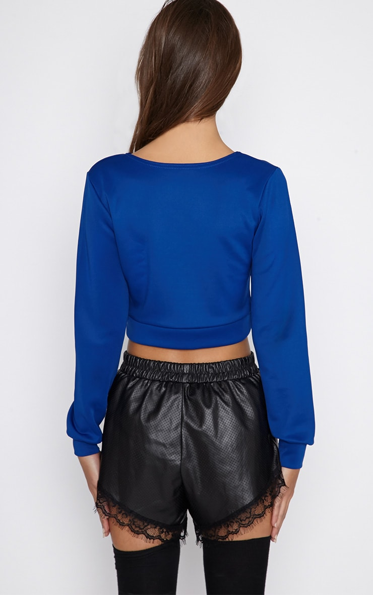 Grace Blue Cropped Scuba Sweater 2