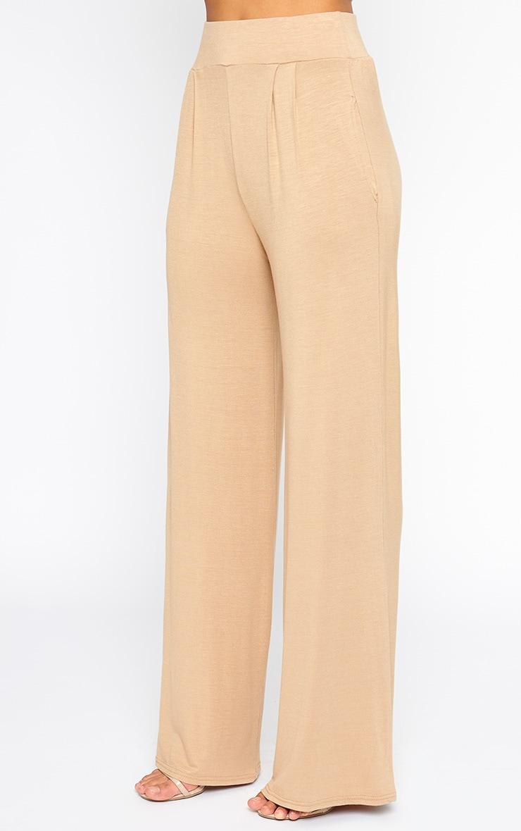 Jazlyn Camel Jersey Wide Leg Palazzo Trousers 3