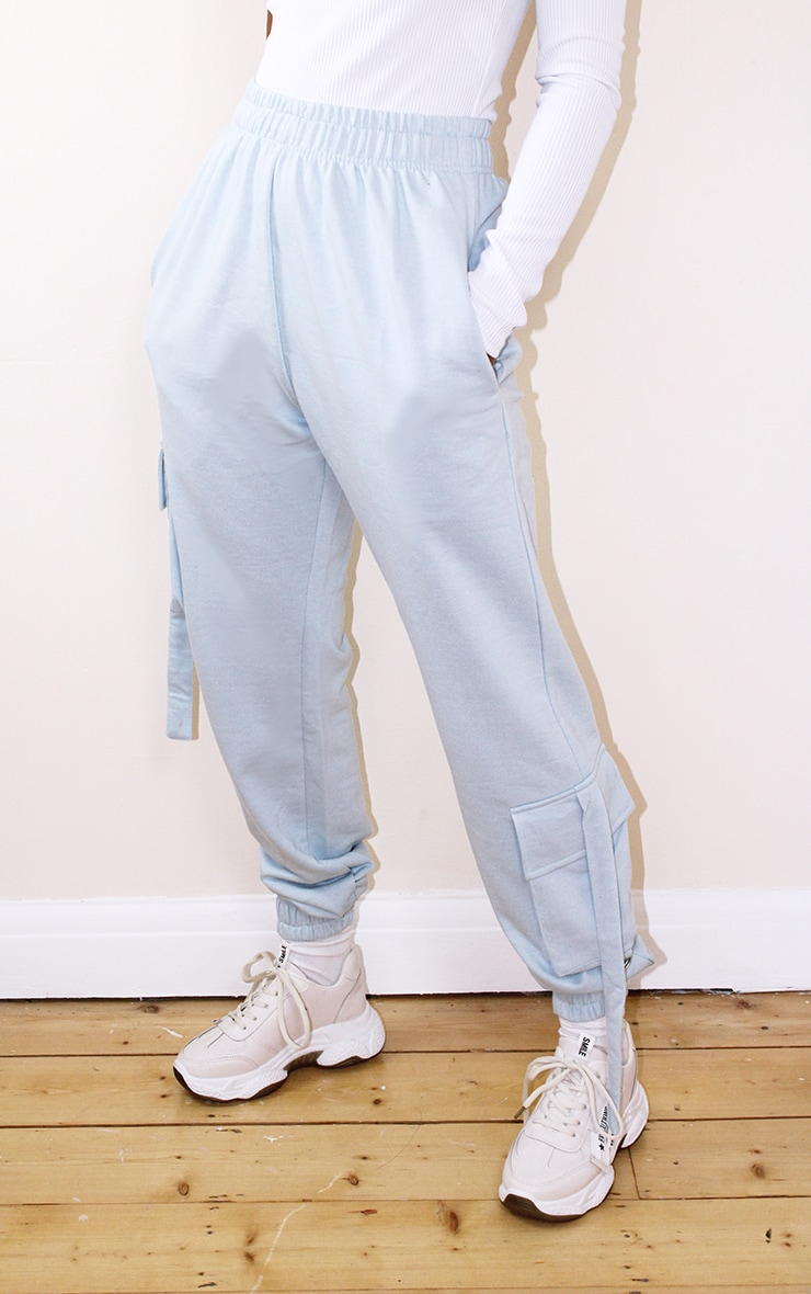 Petite Baby Blue Cargo Casual Joggers 2