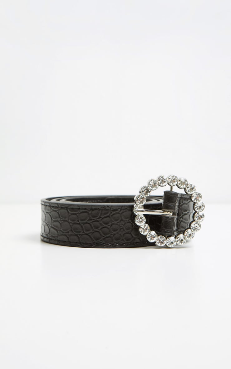 Black Patent Croc Gemstone Round Buckle Belt 4