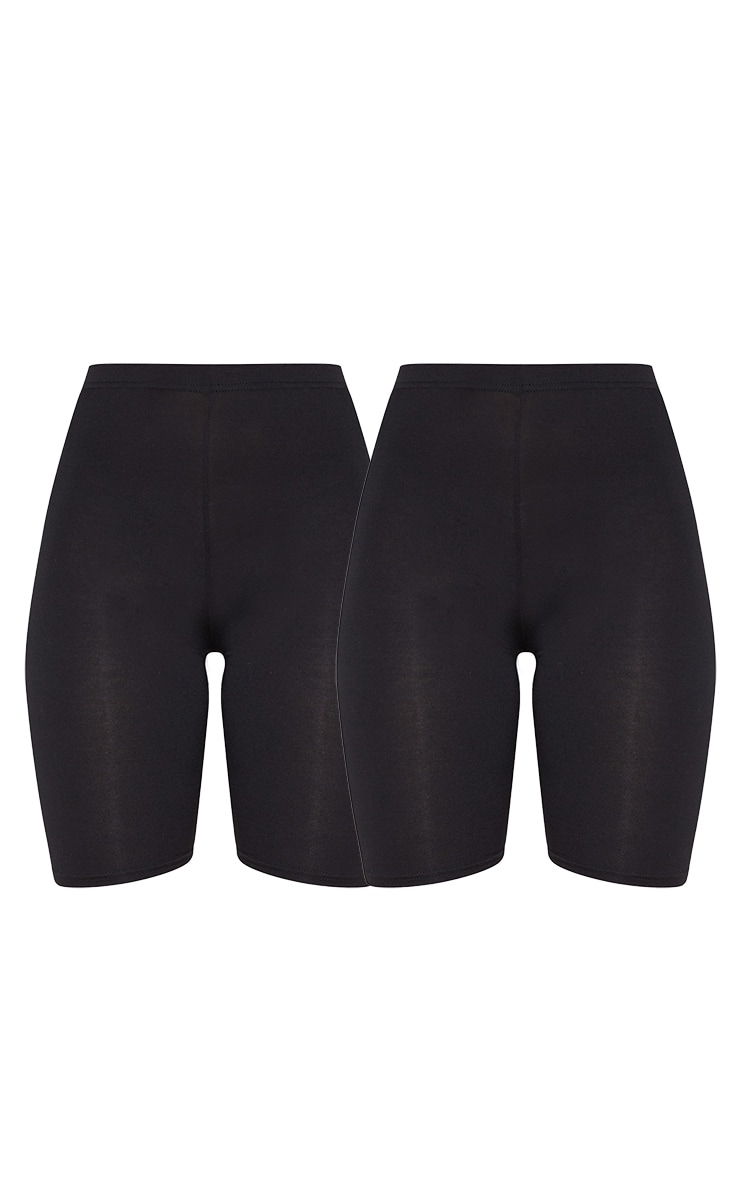 Black Basic Jersey 2 Pack Cycle Shorts 3