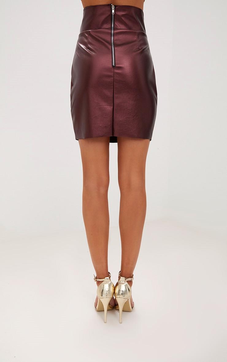 Metallic Burgundy Faux Leather Strappy Waist Mini Skirt 4