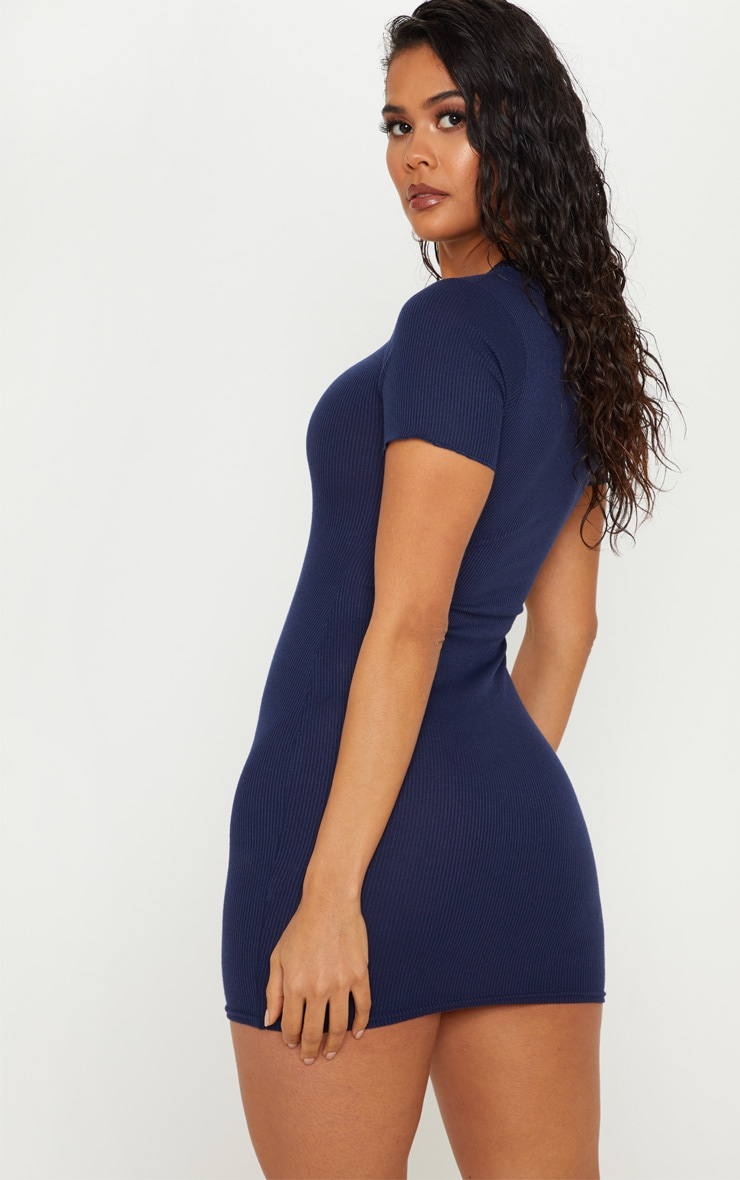 Navy Ribbed Frill Detail Bodycon Dress 2