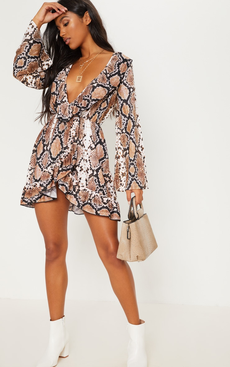 Snake Printed Jersey Frill Detail Flare Sleeve Wrap Dress