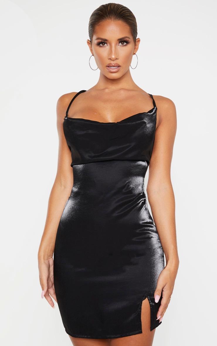 black-metallic-cowl-strappy-back-bodycon-dress by prettylittlething