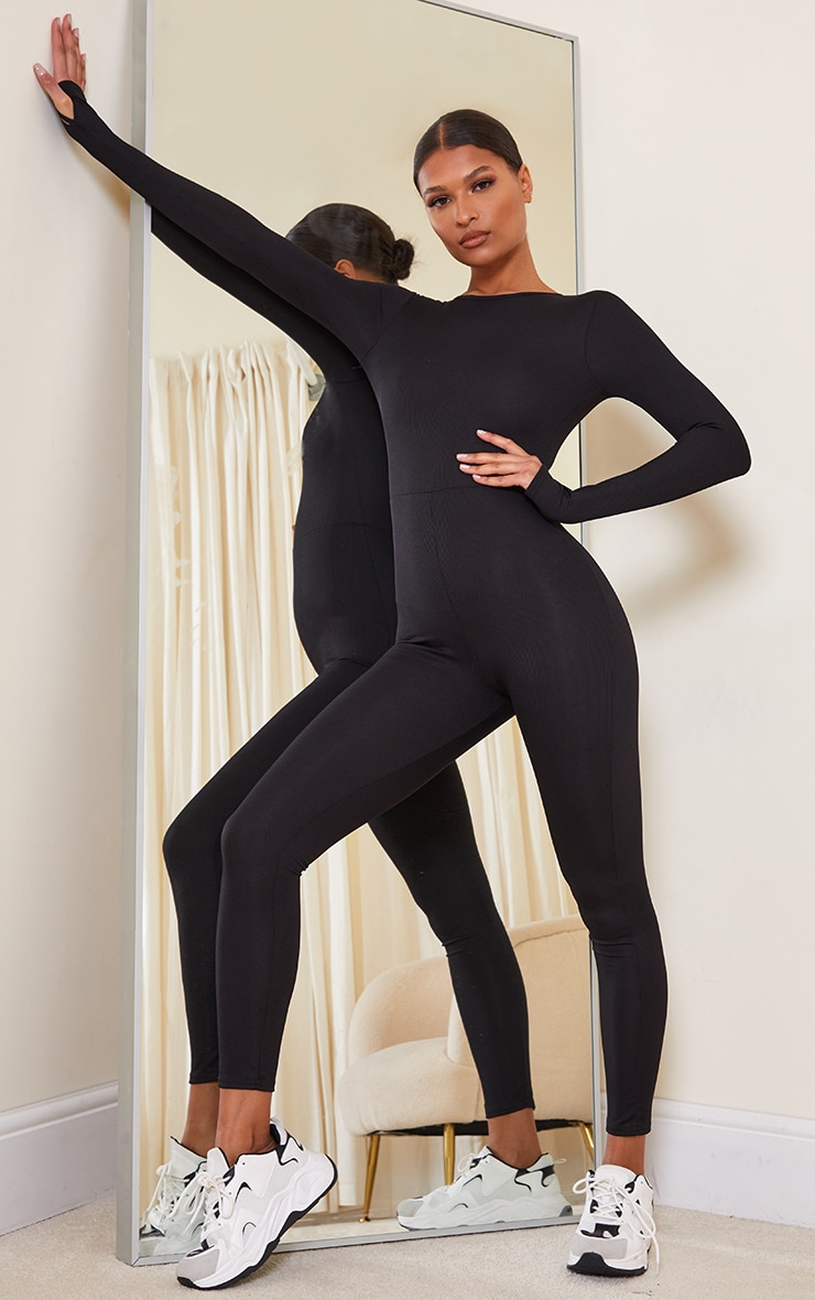 Black Rib Long Sleeve Thumb Hole Jumpsuit 1