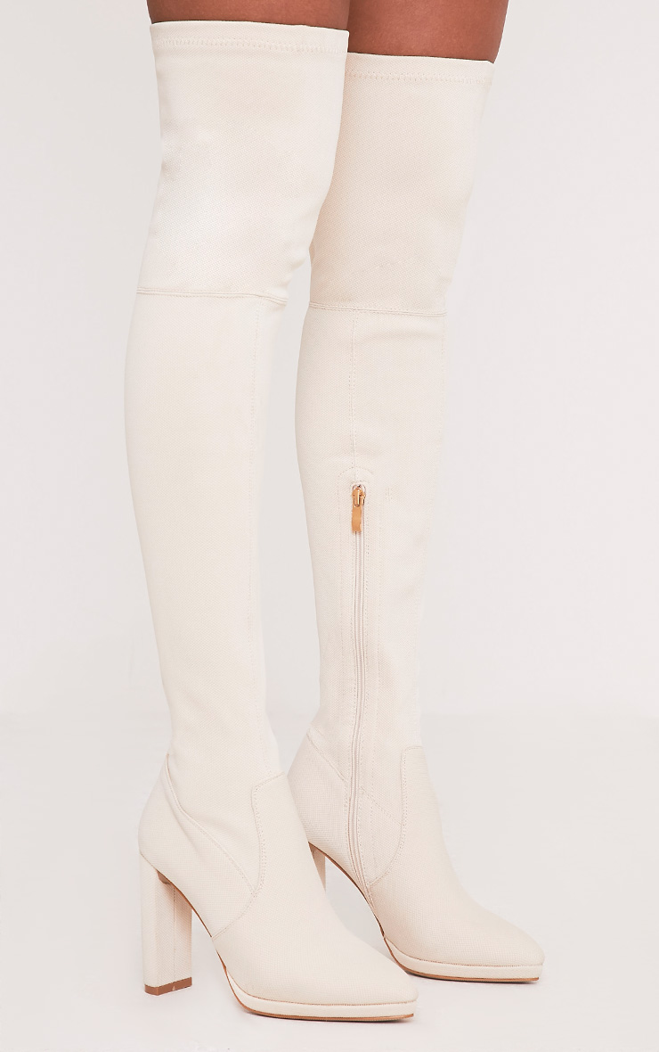Riyah Stone Knitted Pointy Thigh High Sock Boots 2