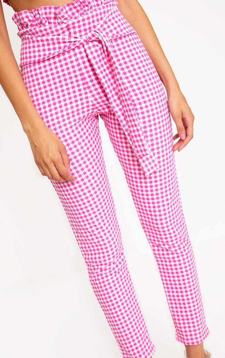 Fuchsia Gingham Paperbag Waist Skinny Pants  5