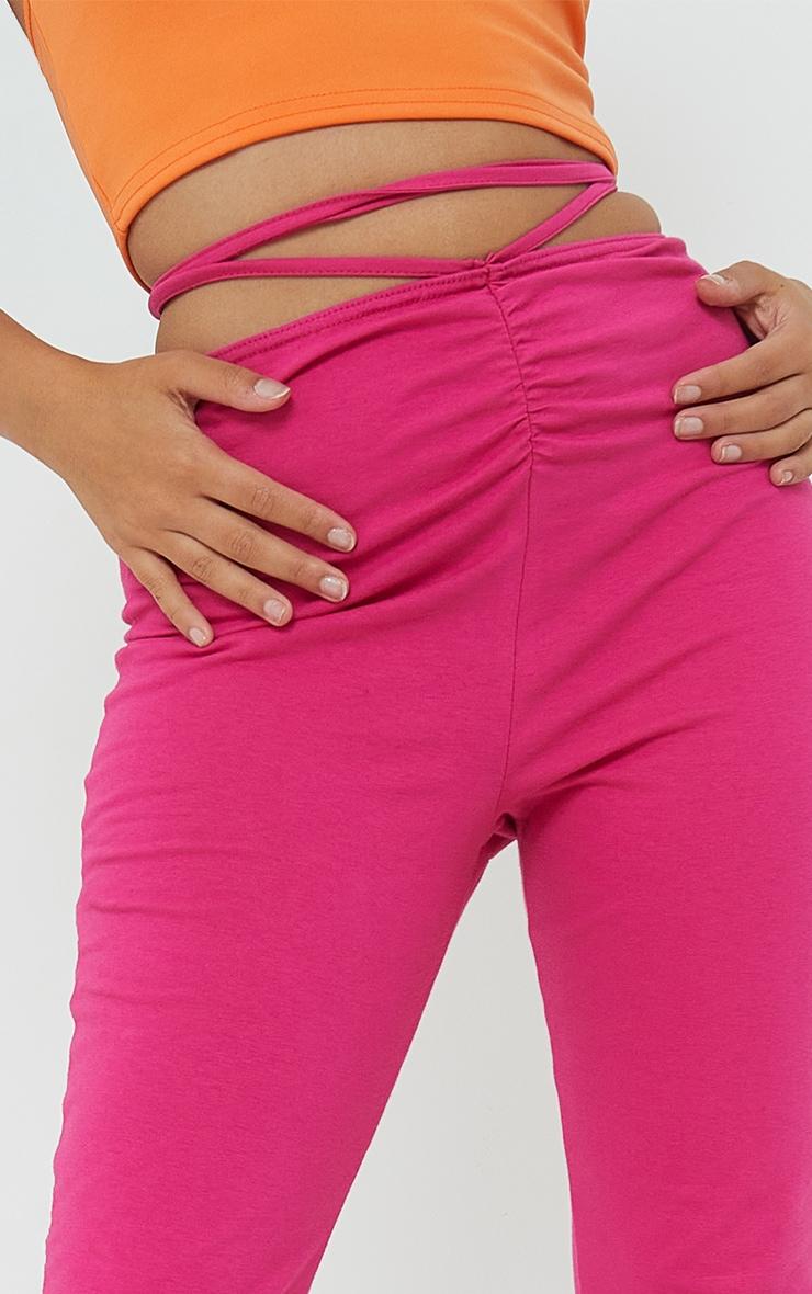 Petite Pink Ruched Waist Wrap Around Split Hem Leggings 4
