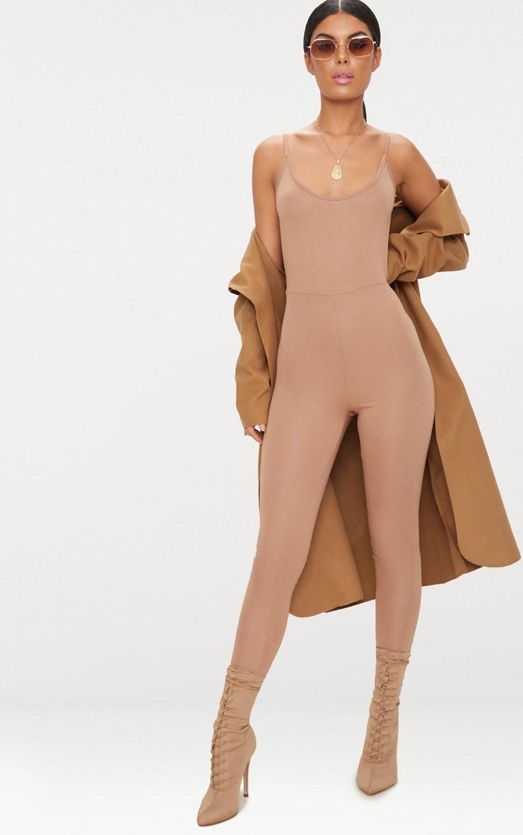 Camel Scoop Neck Backless Jumpsuit  4