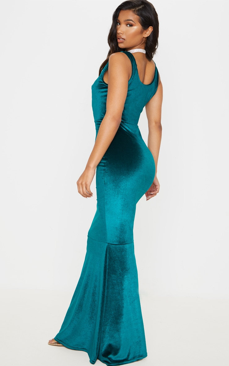 Emerald Green Velvet Square Neck Fishtail Maxi Dress 2