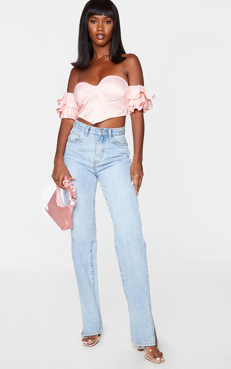 Pink Satin Bardot Frill Sleeve Pointed Hem Crop Top 3