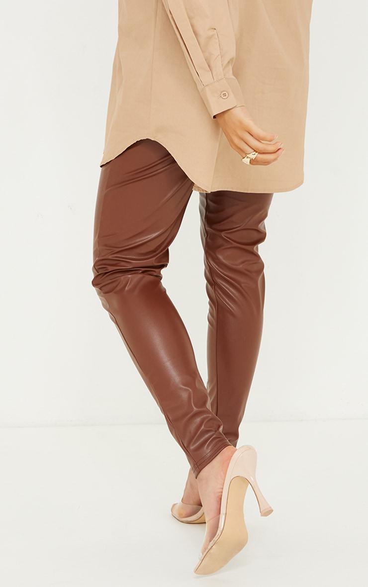 Maternity Camel Faux Leather Split Hem Straight Leg Leggings 3