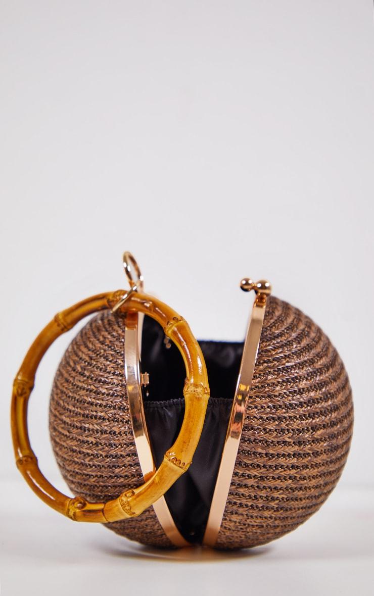 Brown Raffia Sphere Bag 3