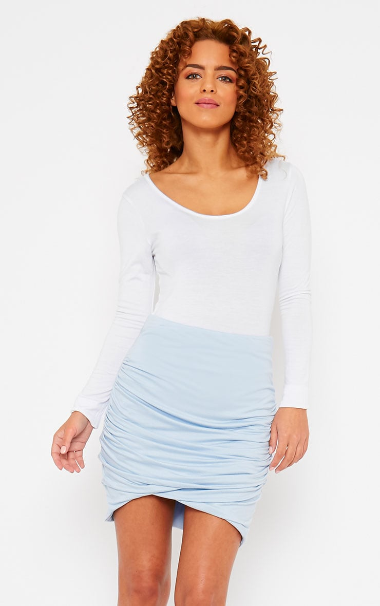 Blue Jersey Ruched Mini Skirt 1