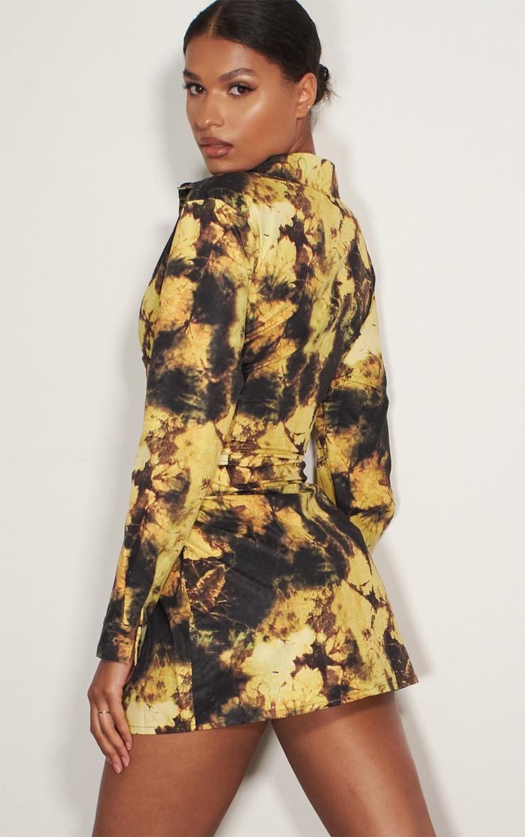 Yellow Tie Dye Hook & Eye Suspender Corset Detail Shirt Dress 2
