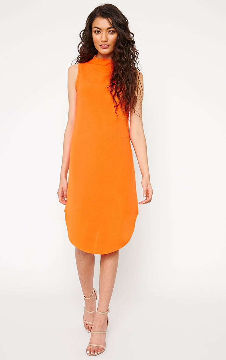 May Orange Crepe High Neck Dip Hem Shift Dress 1