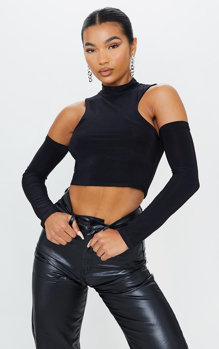 Black Slinky Cold Shoulder Long Sleeve Crop Top 1