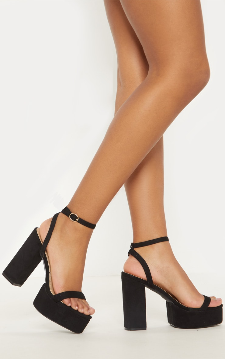 Black Square Toe Platform Sandal 2