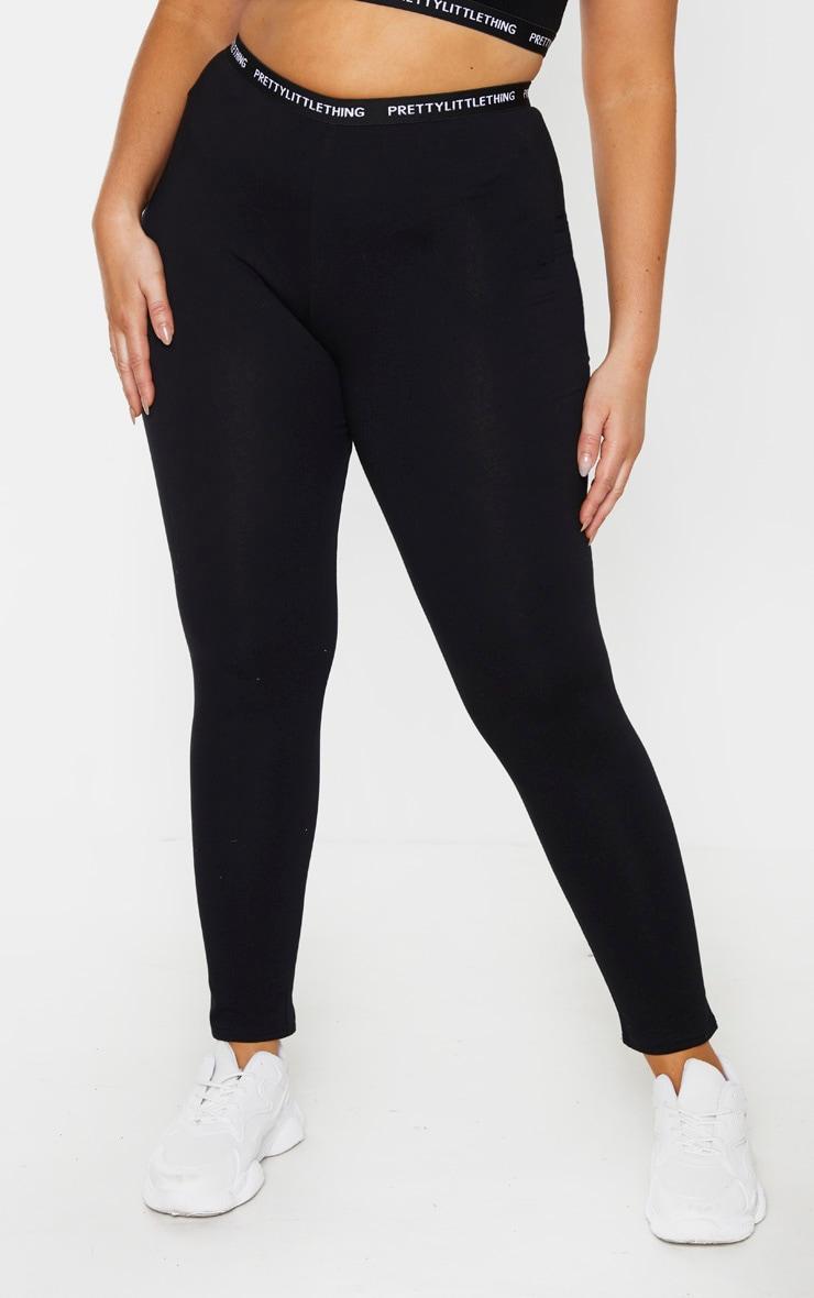 PRETTYLITTLETHING Plus Black Jersey Taping Leggings 2