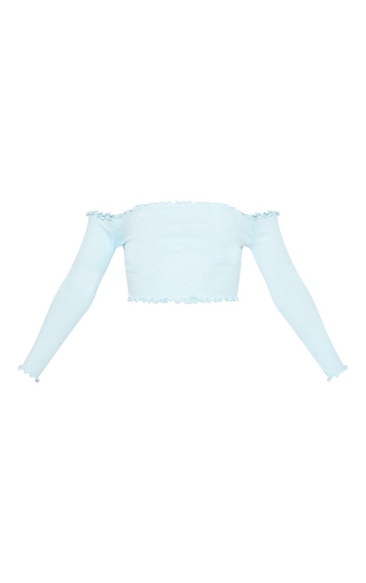 Baby Blue Frill Edge Crop Top  3