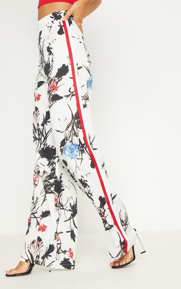 Cream Tropical Print Side Stripe Wide Leg Trouser 2