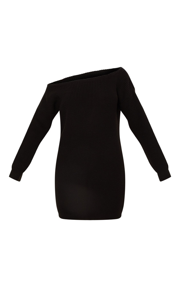 Black Off The Shoulder Knitted Jumper Dress 3