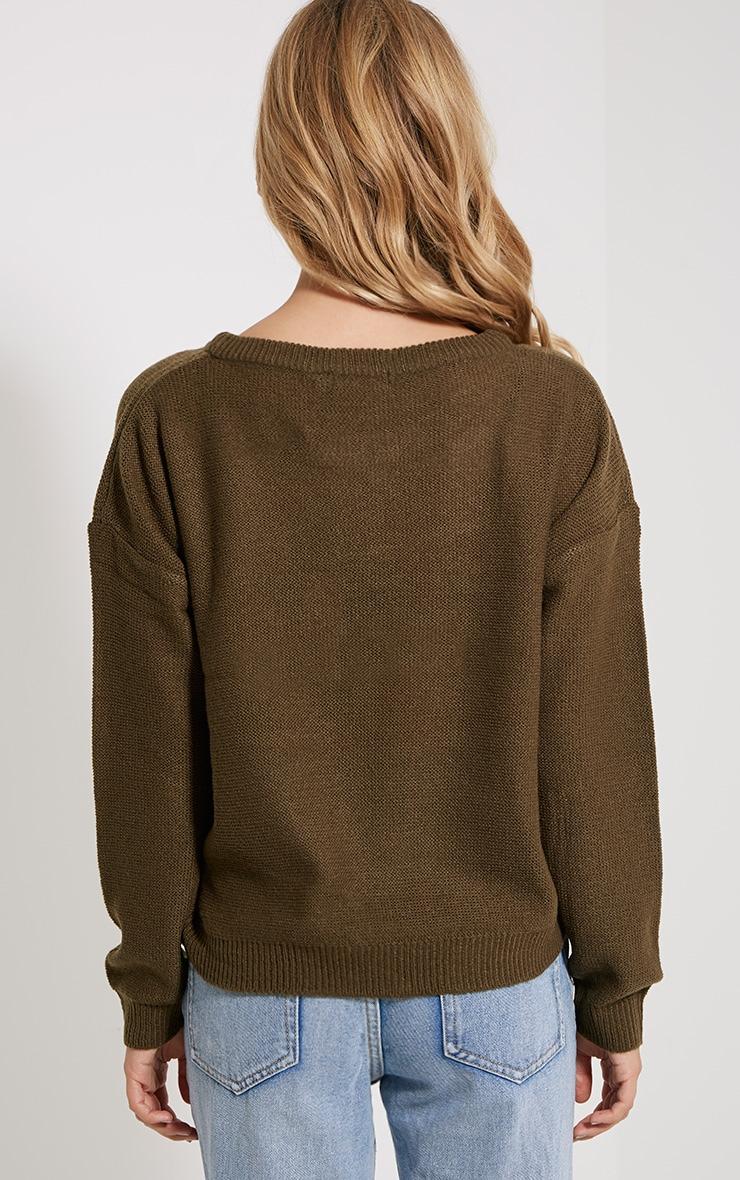 Farren Olive Knitted Crop Jumper 2