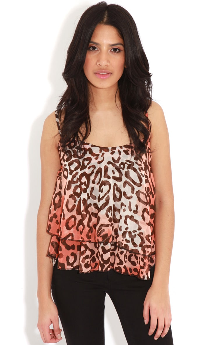 Leana Coral Swing Leopard Crop Top 4