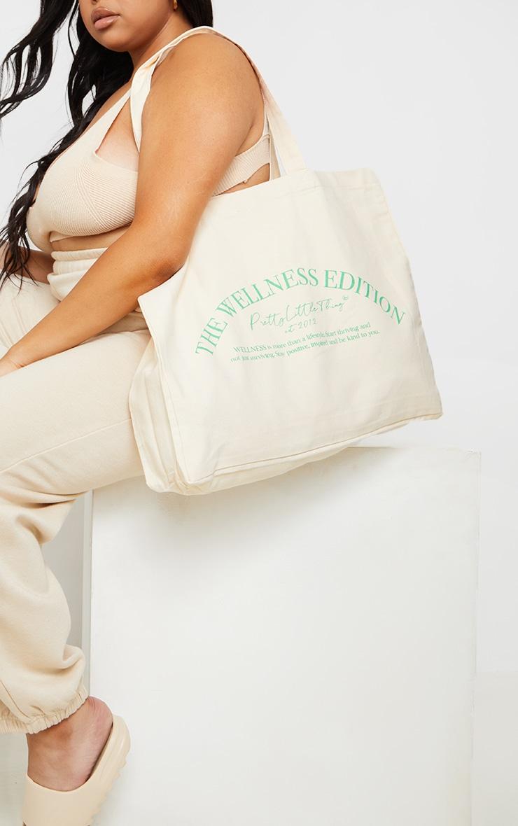 PRETTYLITTLETHING Ecru Wellness Tote Bag image 1
