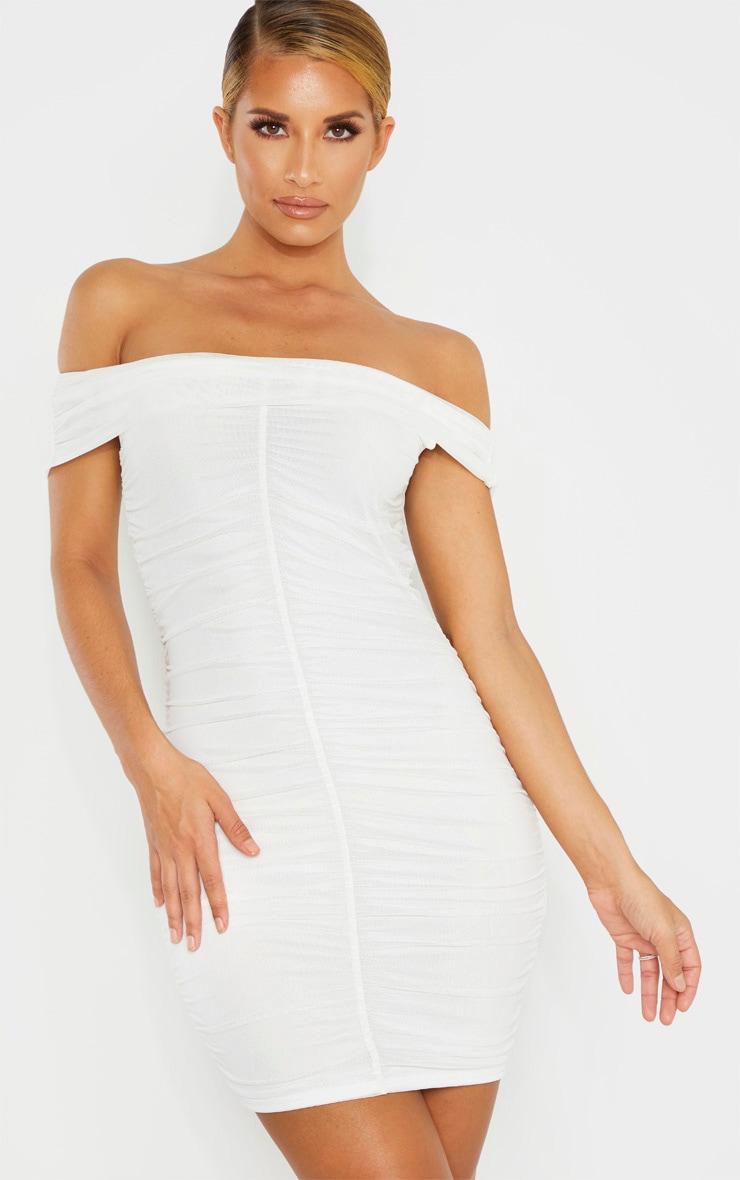 White Mesh Bardot Ruched Bodycon Dress 1