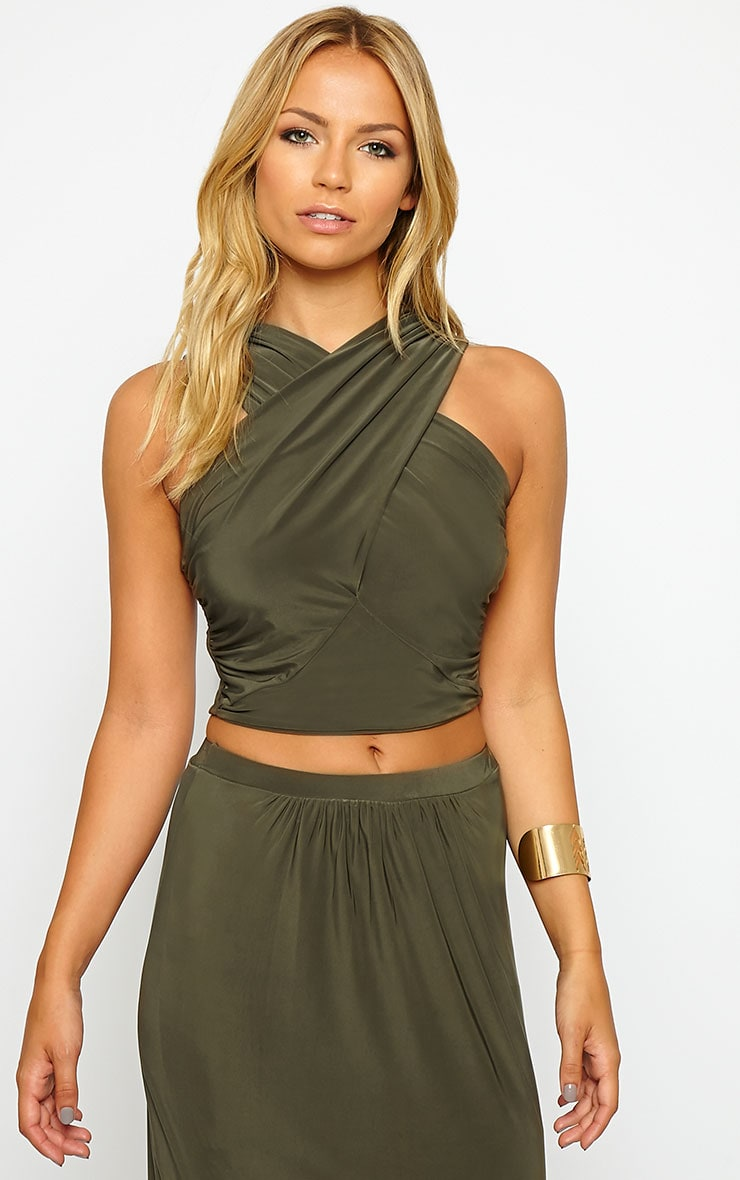 Dalia Khaki Wrap Crop Top 4