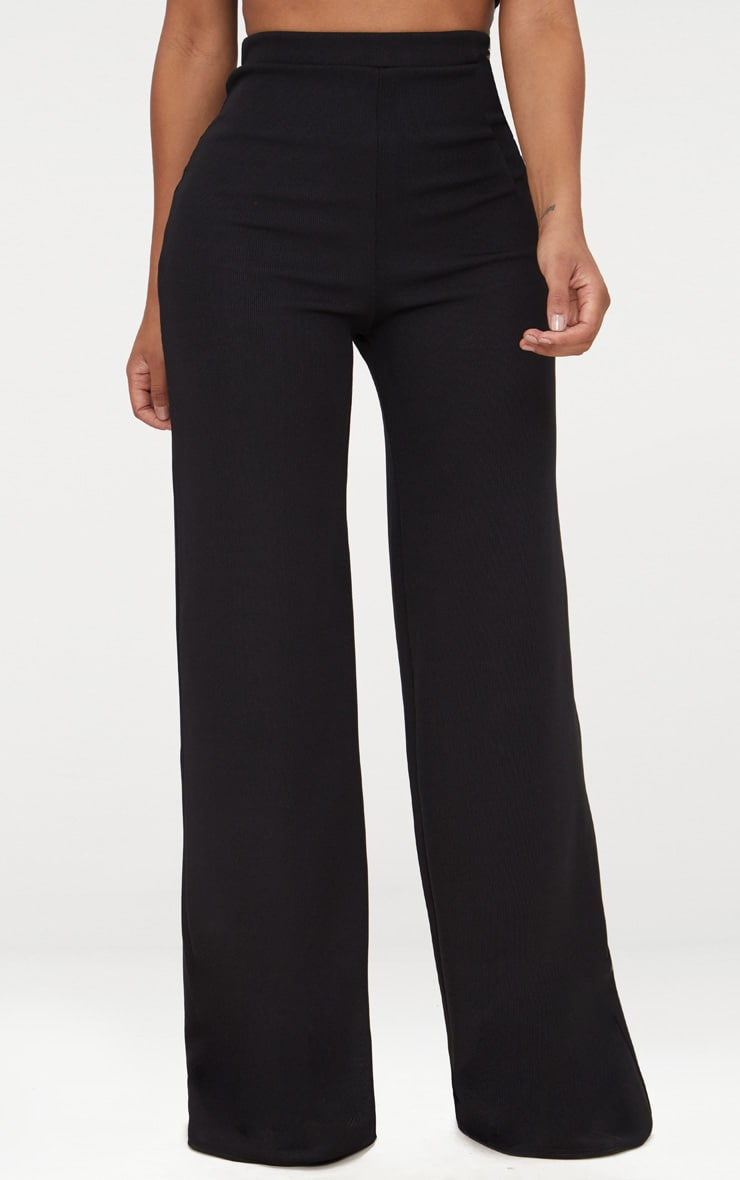 Shape Black Ribbed Bandage Wide Leg Trousers 2