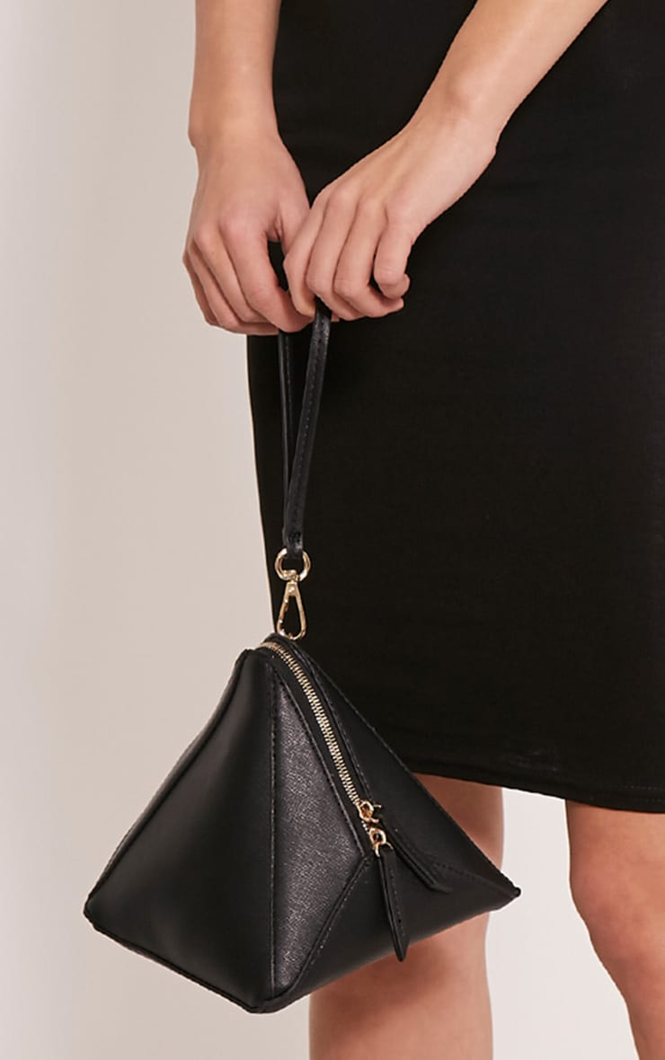 Mani Black Faux Leather Pyramid Clutch Bag 2