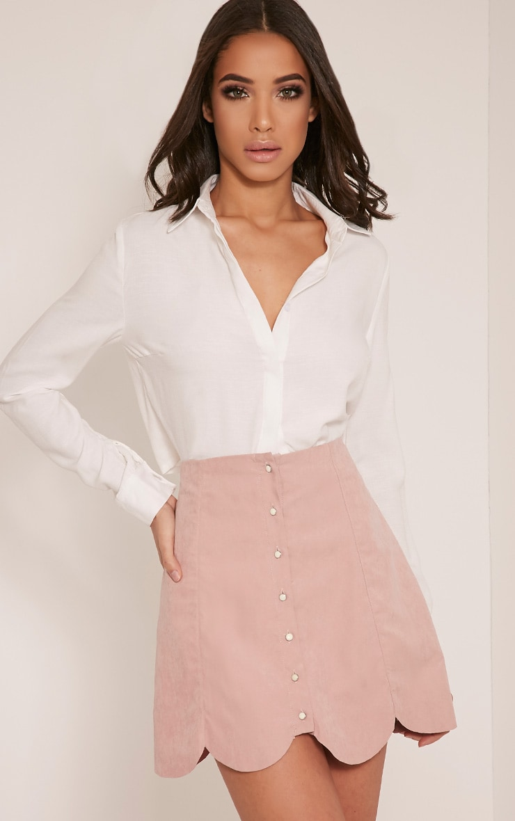 Talisha Blush Scallop Hem Mini Skirt 1