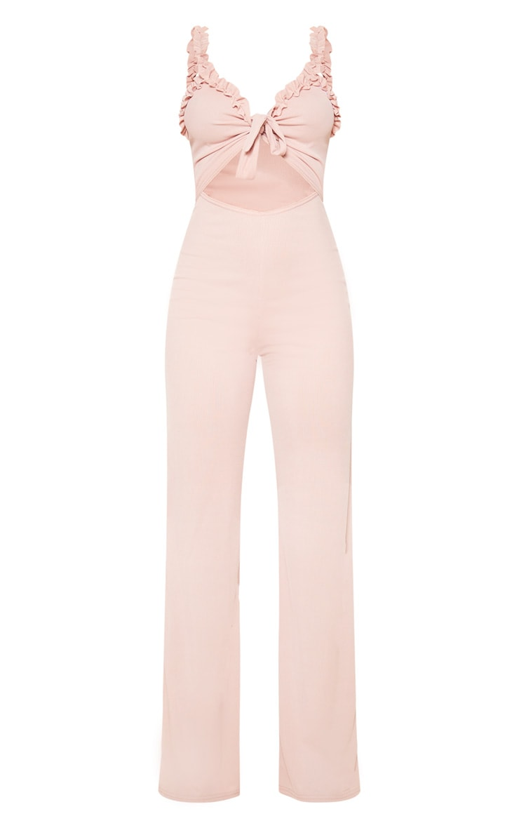 Blush Rib Ruffle Detail Jumpsuit 3