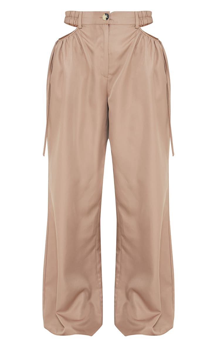 Taupe Woven Cut Out Tie Detail Wide Leg Trousers 5