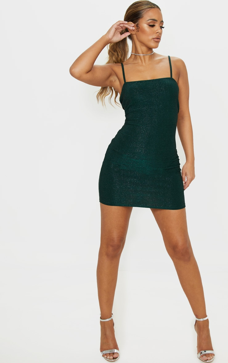 Petite Emerald Green Textured Glitter Square Neck Bodycon Dress 4