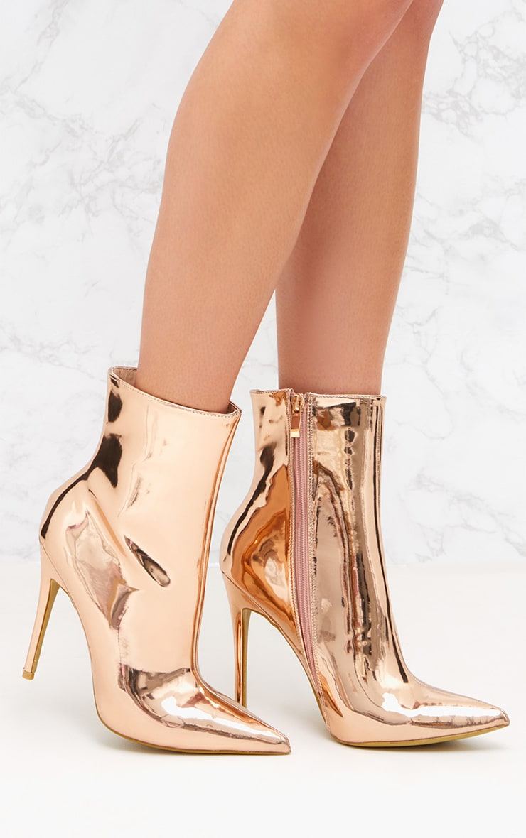 Rose Gold Metallic Heeled Ankle Boot 1
