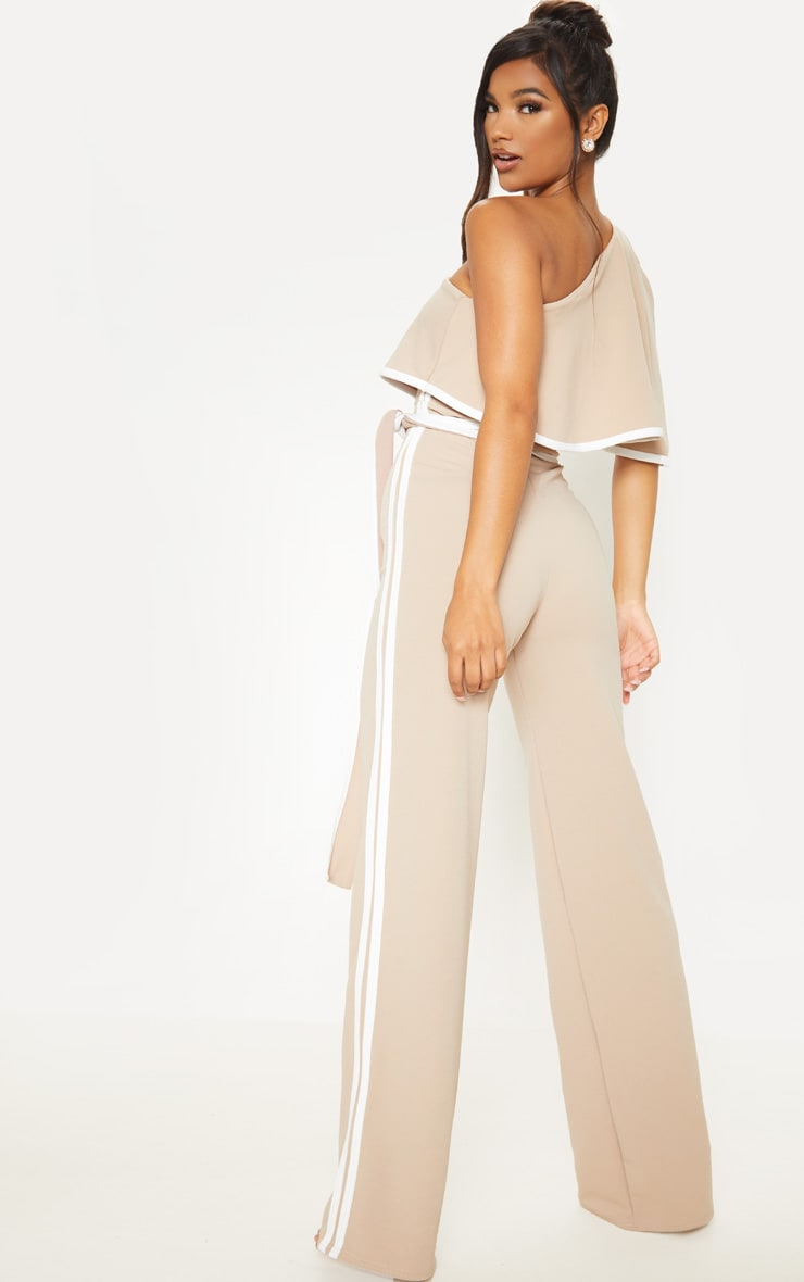 Stone One Shoulder Contrast Binding Jumpsuit 2