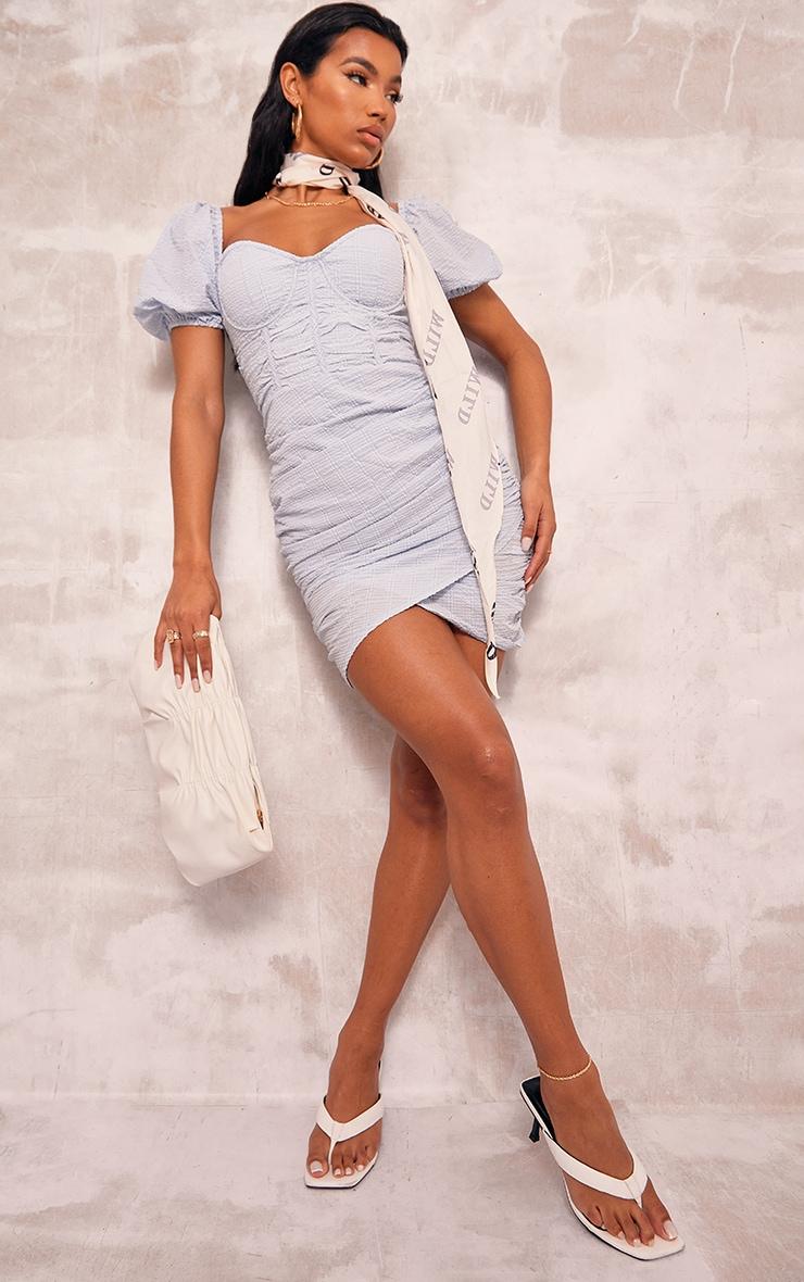 Baby Blue Textured Corset Detail Bodycon Dress 3