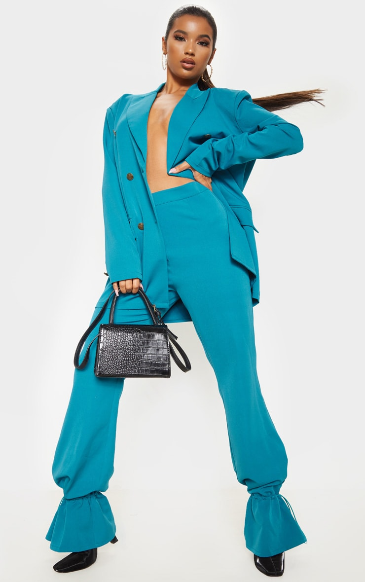 Teal Woven Toggle Cuffed Straight Leg Trouser 1