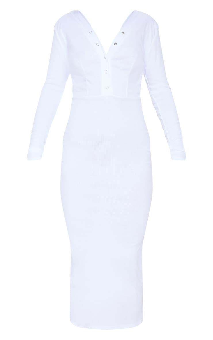White Rib Popper Front Plunge Bodycon Dress 3