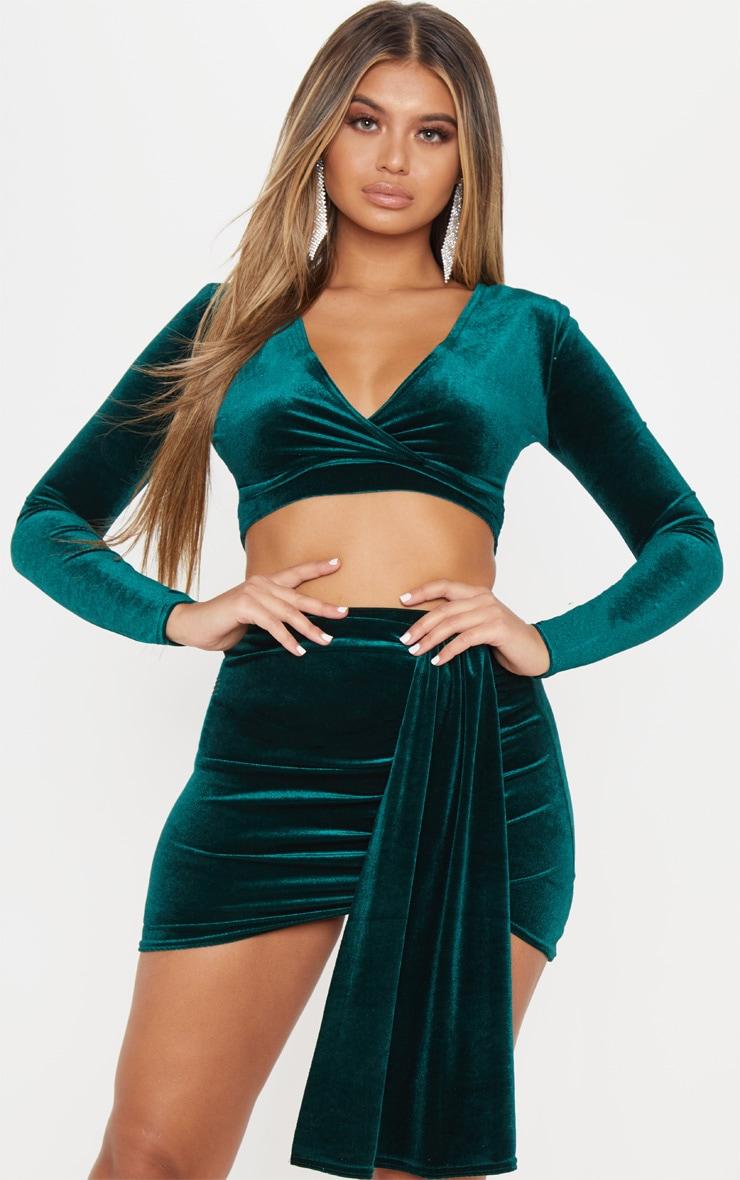 Emerald Green Velvet Top Tops Prettylittlething