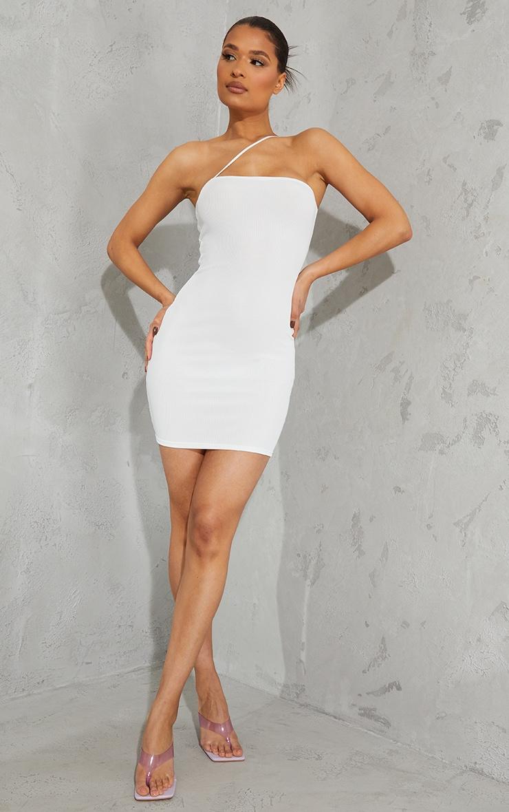 White Ribbed One Shoulder Spaghetti Strap Bodycon Dress 3