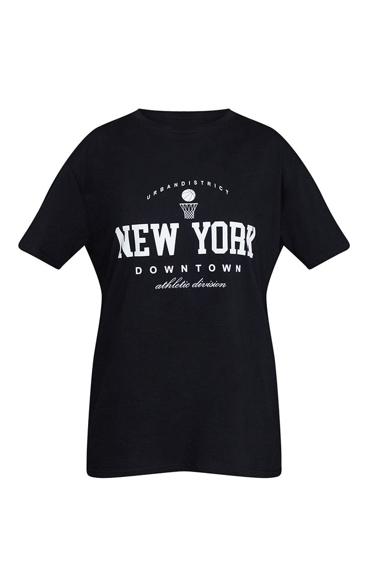 Black New York Downtown Slogan Printed T Shirt 5