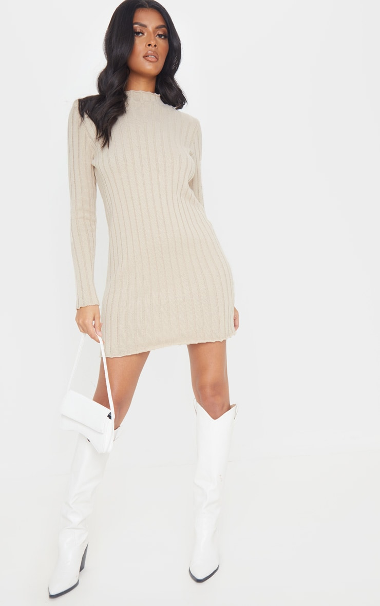 Stone Frill Edge High Neck Knit Dress 4